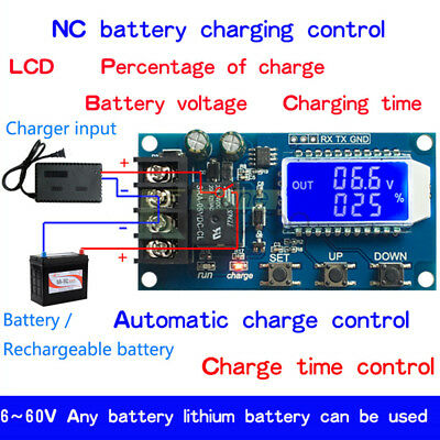 10A Lithium Battery Charge NC Control Module Protection Board LCD Display 6V-60V