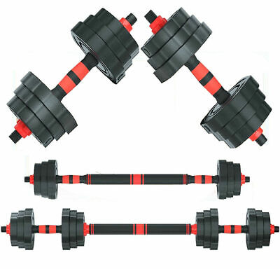 Weight Dumbbell 2X 33LB Adjustable Cap Gym Barbell Plates Body Workout Training