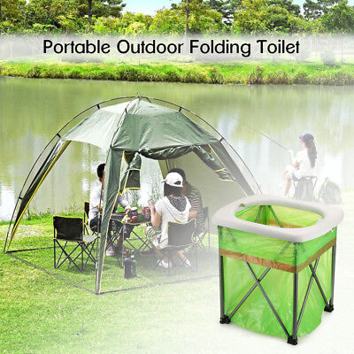 Portable Folding Camping Toilet Compact Travel Outdoor Toilet Seat Chair US P1J8