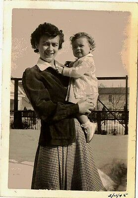 Old Vintage Antique Photograph Mother Holding an Adorable Little Baby