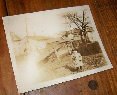 Old Vintage Antique Photograph Little Girl With Crazy Hat Eating an Apple