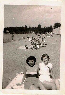 Old Vintage Antique Photograph Two Women Laying on Blanket on the Beach