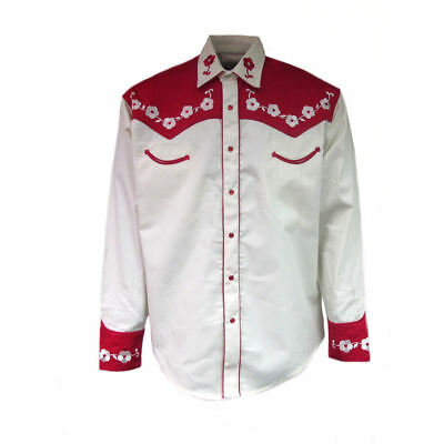 19390ac6a3 MENS ROCKMOUNT RED And Cream Loving You 2-Tone Floral Elvis Shirt ...