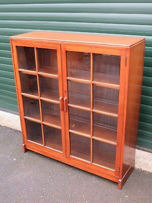 Teak Glazed Bookcase Display Cabinet Floor Standing Good Storage  Library Office