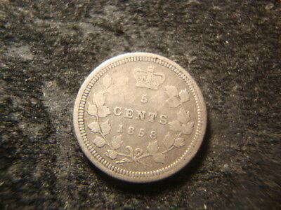 1858 F VF Canada Five Cents Silver Nice Looking Coin NEX