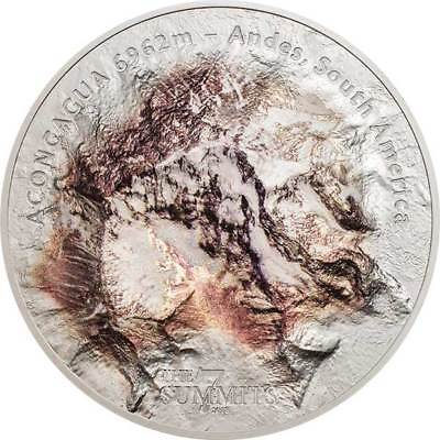 Aconcagua The 7 Summits 5 oz BU Silver Coin 25$ Cook Islands 2018