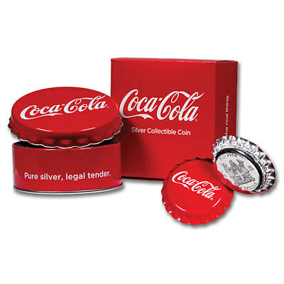 Coca Cola Cap Proof-like Silver Coin 1$ Fiji 2018