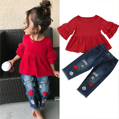 US Stock Kids Baby Girls Long Sleeve T-Shirt Tops Clothes+Jeans Pants Outfit Set