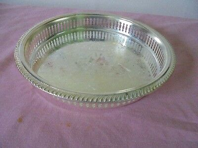 Silver Plate Decorative Scroll Pattern Gallery Tray 9""