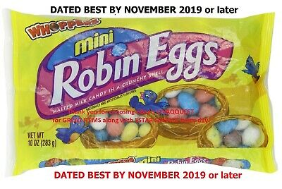 2- WHOPPERS MINI ROBIN EGG 10oz 283g Malted Milk chocolate candy Hershey BB11/19