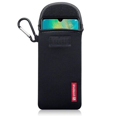 Huawei Mate 20 Shocksock Neoprene Soft Pouch Case with Carabiner in Black