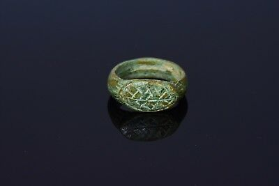 Medieval Viking Bronze Ring With A Stylized Dragons Eye Bezel  - T26