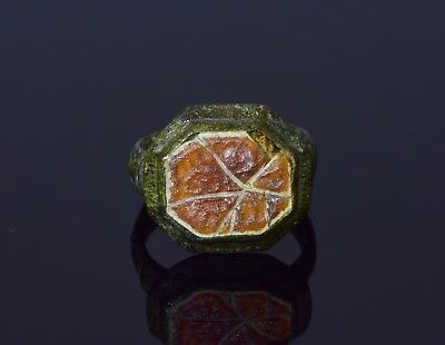 Late Medieval Tudor Period Bronze Ring With Carved Gem Stone  - T29