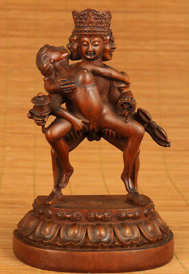 antique  Boxwood wood Chinese Hand Carved devil hug Old tibet Buddha Big Statue