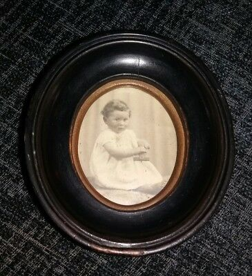 Antique VICTORIAN? OVAL MINIATURE PHOTO picture FRAME WALL HANGING black wood