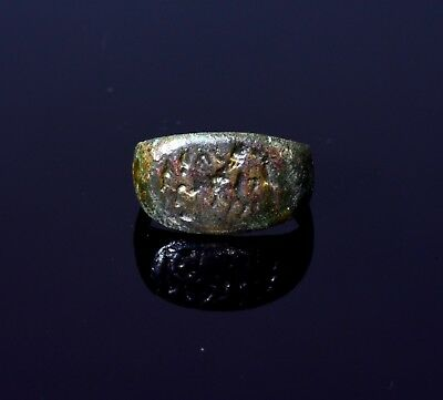 Ancient Roman Bronze Ring Depicting 3 Horses With Riders   - T33
