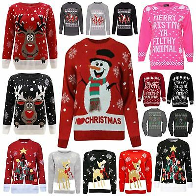 Kids Boys Girls Retro Rudolph Snowflake Christmas Jumper Vintage Novelty Sweater