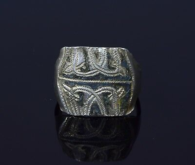 Rare Medieval Viking Silver Ring With Niello Depiction Of Dragons  - T45