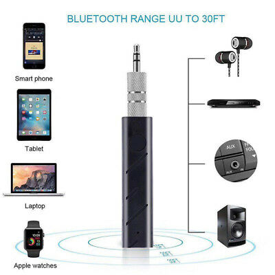 Wireless Jack Bluetooth Audio Receiver Dongle Stereo Car Mic Adapter 3.5mm AUX