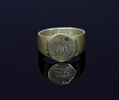 Post-Medieval Tudor Silver Ring With Decorated Bezel - T49