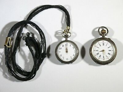 Lot of Two ~ Antique 800 Silver Pocket Watches NOT RUNNING