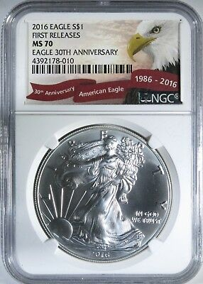 2016 Silver American Eagle 30th Anniversary First Releases ~ NGC Graded MS70