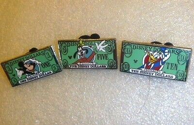 Disney Pin -WDW - Cast Lanyard Series #3 - Disney Dollars (SET of Three Pins)
