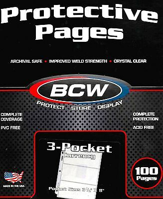 100 BCW 3 Pocket Pages Sheets for Large Bills Coupons and 300 Currency Sleeves