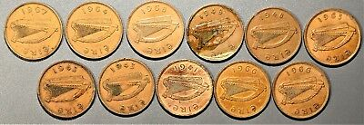 1941-1967 1 PENNY IRELAND EIRE Large Bronze Cents (11) Coins  A7902
