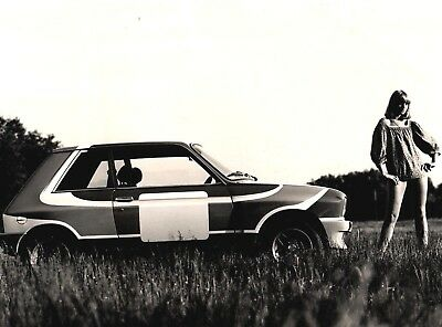 Peugeot 104 ZS Rally Original Photograph Foto Girl in Very Short Top 1977