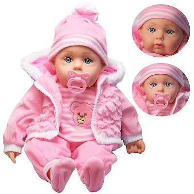 Lifelike Large Size Soft Bodied Baby Doll With Dummy & Sounds Girls Boys Toy