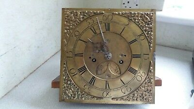 Antique Metal 18 /19Th C Longcase Clock Dial And Movement  Walker And Hughes