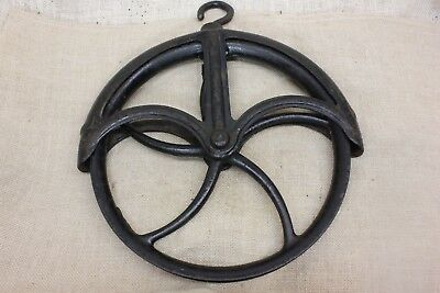 "LARGE Well fender Pulley 11"" wheel old 1880's vintage iron rustic black paint"