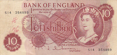 10 Shillings Fine Banknote From England 1963!pick-373