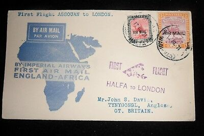 Imperial Airways   First Flight Cover  From Sudan  To England