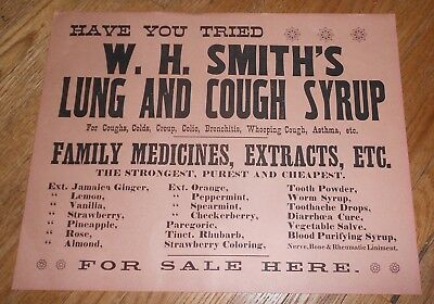 c1915 Antique Medical Sign Quack Medicine W H Smith's Lung & Cough Syrup