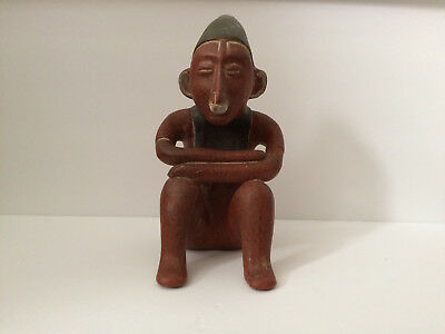 Pre Columbian Folk Art Terracotta Statue Man Seated with Arms Crossed Pottery