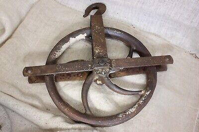 """LARGE 12"""" wheel well pulley old heavy duty iron barn industrial 13 pound rustic"""