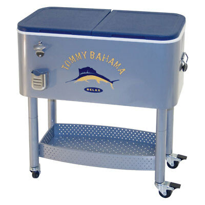 Tommy Bahama The Entertainer 77 Quart Steel Rolling Portable Patio Party Cooler