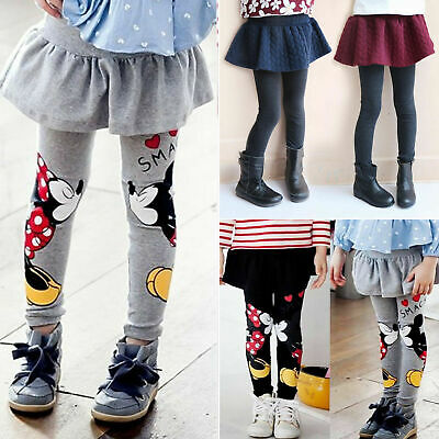 Baby Kids Girls Minnie Mickey Skirt Pants Pantskirt Stretch Leggings Trousers US