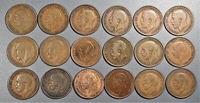 1920-1937 1 PENNY COINS GREAT BRITIAN UK  Lot of (18) Large Bronze Cents  A8014