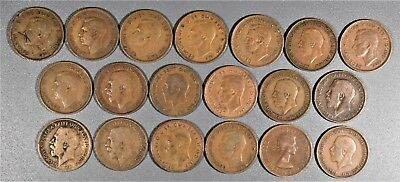 1916-1953 HALF PENNY COINS GREAT BRITIAN UK  Lot of (19) Bronze  A8016