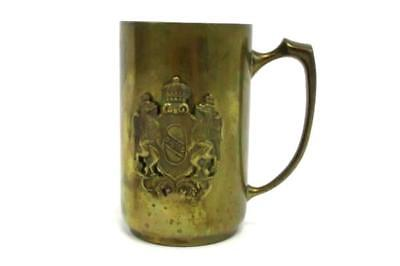 Vintage Antique Gold Tone Stein Mug Tankard with Coat of Arms Made in Italy