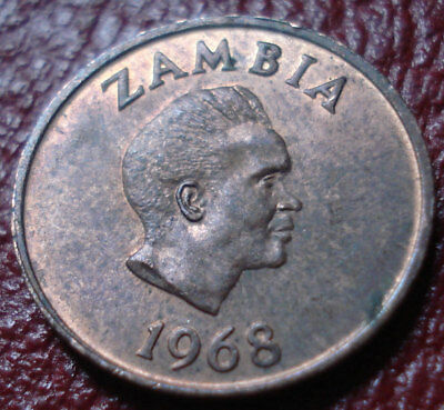 1968 Zambia 1 Ngwee In Au Condition