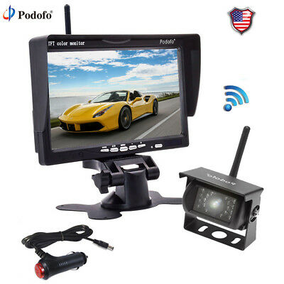 """7"""" Monitor Wireless Rear View Backup Camera Night Vision System Kit For RV Truck"""