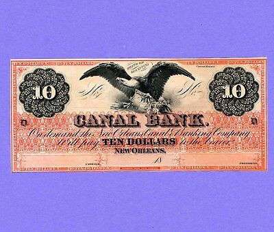 1840's-1850's $10 New Orleans Canal Note (BLACK EAGLE) Crisp/Uncirculated