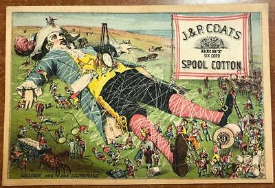 Vintage Victorian Trade Card CPT Gulliver & Lilliputians J P Coats Sewing Thread