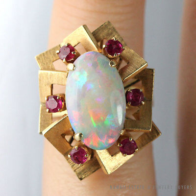 Vintage White Opal Ruby 14K Yellow Gold Ring Size 4