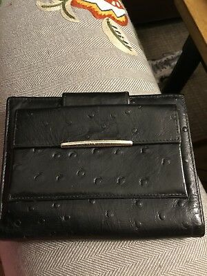 Vintage Hollywood DON LOPER Black Genuine Ostrich Leather Wallet
