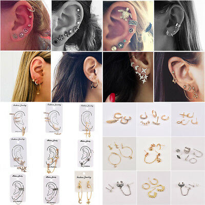 Women's Vintage Gold Silver Chain Circle Ear Stud Cuff Wrap Clip-on Earrings Set
